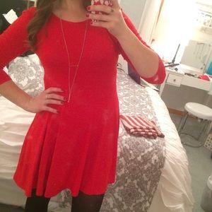Express RED 3/4 Sleeve A-line dress
